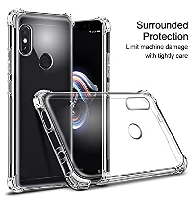 ikazen Anti Shock Hybrid Clear Transparent Back Cover for Xiaomi Redmi Note 5 Pro Cases   Covers