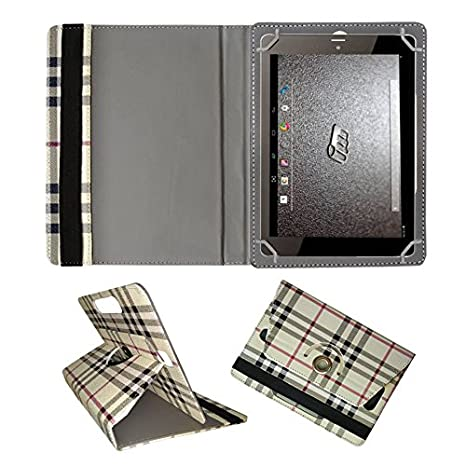 Fastway Rotating 360 deg; Leather Flip Case for Micromax Canvas Tab P681 Cream Cases   Covers