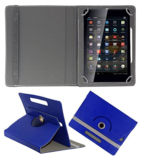 Acm Rotating Leather Flip Case Compatible with Iball Slide 3g 7345q 800 Cover Stand Dark Blue Bags,Cases   Sleeves