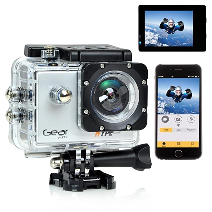 Gear Pro Sports Action 4K Hype Cam   Ultra HD Wi Fi Action Camera, Silver  GDV485SL  Action Cameras   Accessories