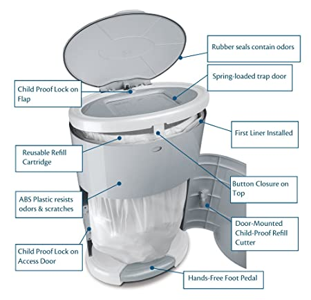 Dekor Classic Hands-Free Diaper Pail – Best Diaper Pail for Cloth Diapers