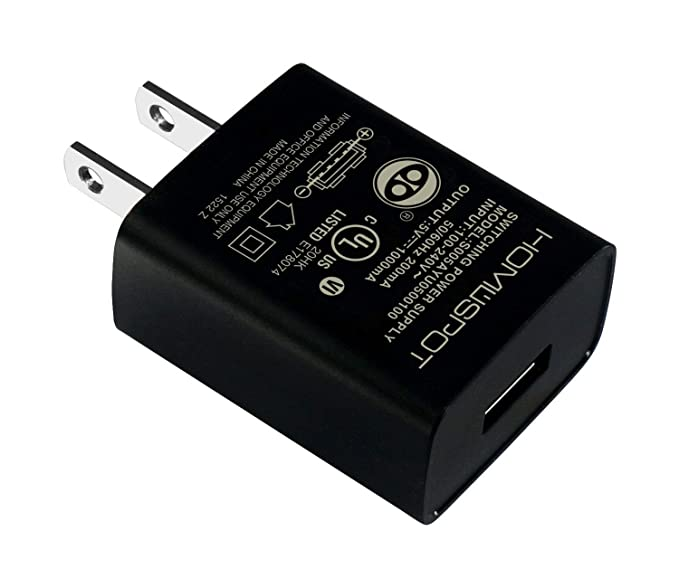 HomeSpot Universal US 5V1A USB Wall Charger Plug In door Power AC Adapter for Travel Office Home Use, [Black] Chargers