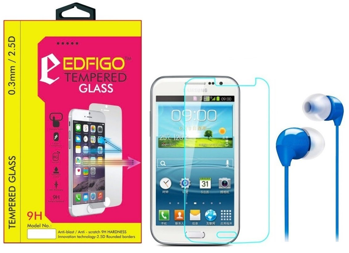 Edfigo Tempered Glass With Multicolor Earphone For Samsung Galaxy Grand Quattro  i8552  available at Amazon for Rs.149