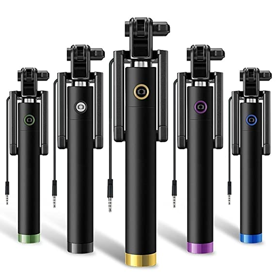 Genric Compact Pocket Size Locust Aux Cable Monopod Selfie Stick Wired for iPhone and Android Selfie Sticks