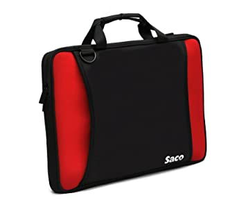 Saco Shock Proof Slim Laptop Bag with Shoulder Strap for Samsung NP550P5C S06IN nbsp;Laptop   15.6 inch   Red  amp; Black Bags   Sleeves
