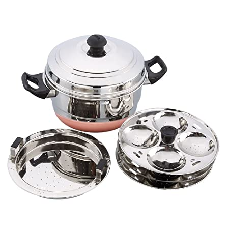 Expresso Stainless Steel Gas Stove Base Standard Idly Cooker Patra w/Copper Bottom  3 Plates / 12 Idlis , 1 Steamer Steamers   Idli Makers