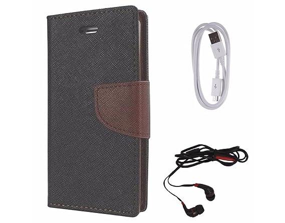 Avzax Diary Look Flip Wallet Case Cover for Sony Xperia M4 Aqua  Black  + Data Cable + in Ear Headphone Accessory Kits