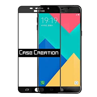 Case Creation trade; Tempered Glass Screen Scratch Guard Protector for Samsung Galaxy C9 Pro  2017  Color   Jet Black Screen Protectors