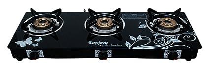 Suryajwala Stainless Steel 3 Burner Manual Gas Stove, Black  sj3burner CI bkd CT  Kitchen   Dining