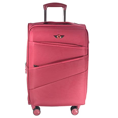Texas USA Nylon 24 inch Expandable Zip Closure 360 Degree Rotating Wheel Medium Red Check in Baggage Trolley Luggage