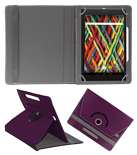 Acm Rotating 360 Leather Flip Case Compatible with Micromax Fantabulet F666 Cover Stand Purple Bags,Cases   Sleeves