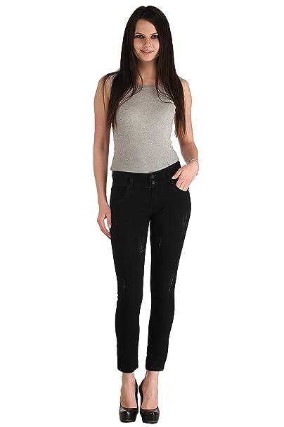 Cali Republic Lestal Women's Skinny Fit Patch Pocket Denim Jeans   Black Women