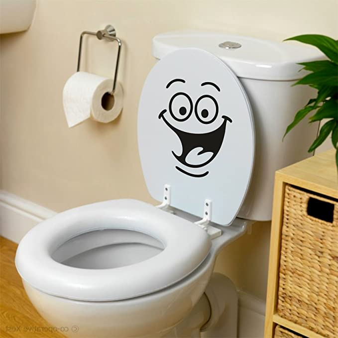 Wall Attraction 'Toilet Funny Smiling' Sticker Size  Small Color   Black  Pack of 1  Wall Stickers   Murals