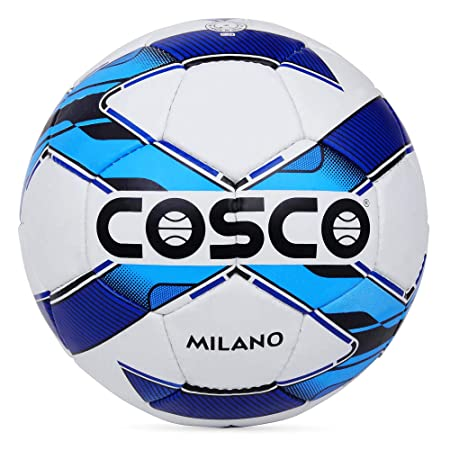 Cosco Milano Foot Ball, Size 5  White/Blue/Black  Recreational Balls