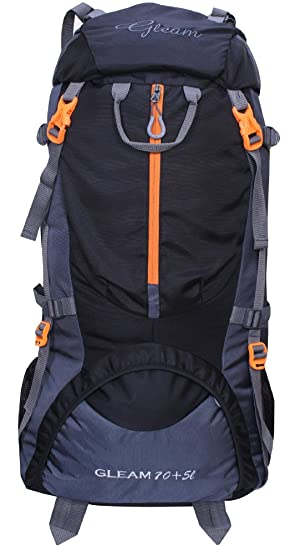 Gleam 0109 Climate Proof Mountain Trekking Rucksack, Backpack 75 Ltrs Black  amp; Grey with Rain Cover Rucksacks   Trekking Backpacks