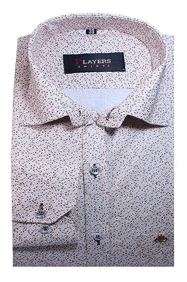 Players Men's Printed Casual Shirt, White   Grey  SKU0318_42  Casual Shirts