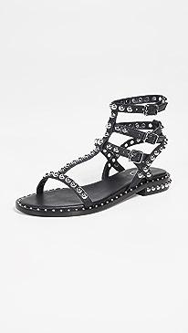 아쉬 플레이 플랫 샌들 ASH Play Sandals,Black