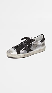골든구스 Golden Goose Superstar Sneakers,Silver/Black