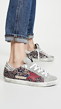 골든구스 Golden Goose Superstar Paisley Sneakers,Navy Paisley