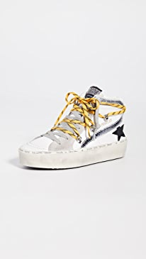 골든구스 Golden Goose Hi Slide Sneakers,White Yellow