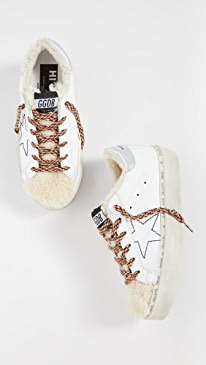 골든구스 Golden Goose Hi Star Sneakers,White/Shearling