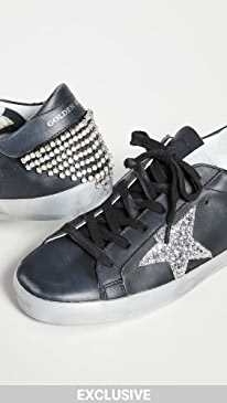 골든구스 Golden Goose Superstar Sneakers with Chain,Black/Crystal