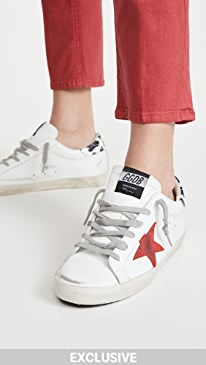 골든구스 Golden Goose Superstar Sneakers,White/Red Star