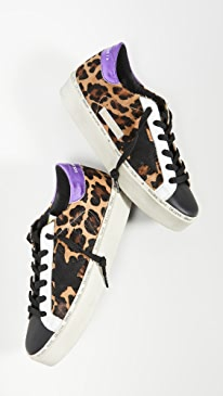 골든구스 Golden Goose Hi Star Sneakers,Snow Leopard/Purple/White