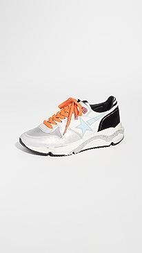 골든구스 Golden Goose Running Sole Sneakers,White/Lavender/Titan/Aquamarin
