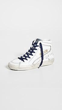 골든구스 Golden Goose Slide Classic Sneakers,White/Lavender