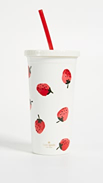 케이트 스페이드 Kate Spade Strawberries Tumbler with Straw