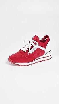 마이클 마이클 코어스 Michael Michael Kors Billie Knit Trainers,Bright Red