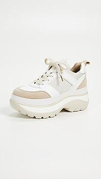 마이클 마이클 코어스 Michael Michael Kors Felicia Trainer Sneakers,Ecru/Optic White