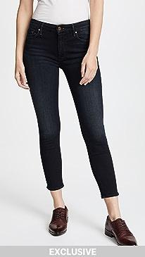 마더 진 청바지 MOTHER The Cropped Looker Skinny Jeans