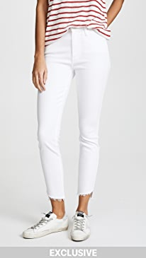 마더 진 청바지 MOTHER The Stunner Jeans with Zip Ankle & Step Fray