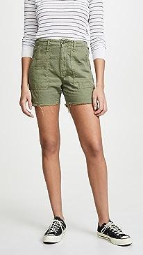 마더 진 MOTHER The Shaker Chop Shorts,Army Green