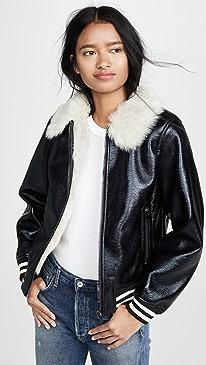 마더 진 MOTHER The Faux Fur Moto Jacket,Whiskey Lullaby