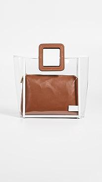 스타우드 셜리 토트백 클리어 탄 스타우드 STAUD Framed Shirley Bag,Clear/Tan/Soft White