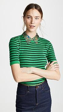 토리버치 우븐 카라 스웨터 (유인나 착용) Tory Burch Woven Collar Sweater,Court Green