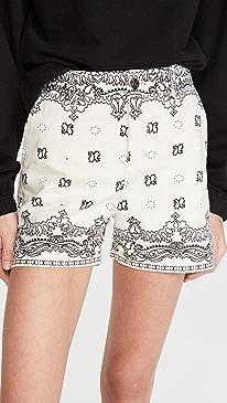 토리버치 Tory Burch Printed Denim Shorts,Ivory Americana Bandana
