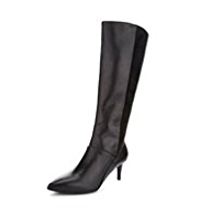 Autograph Leather Pointed Toe Panelled Long Boots with Insolia® & Stretch Zip