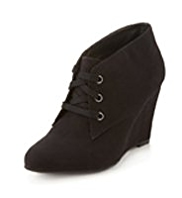 M&S Collection Wide Fit Lace Up Wedge Boots