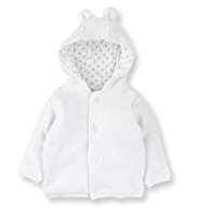 Pure Cotton Ears Hooded Cardigan