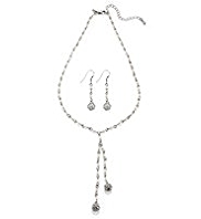 M&S Collection Pearl Effect & Diamanté Ball Drop Necklace & Earrings Set