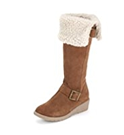 Faux Fur Suede Buckle Trim Wedge Boots