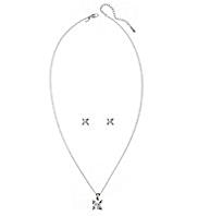 M&S Collection Platinum Plated Princess Cut Diamanté Necklace & Earrings Set