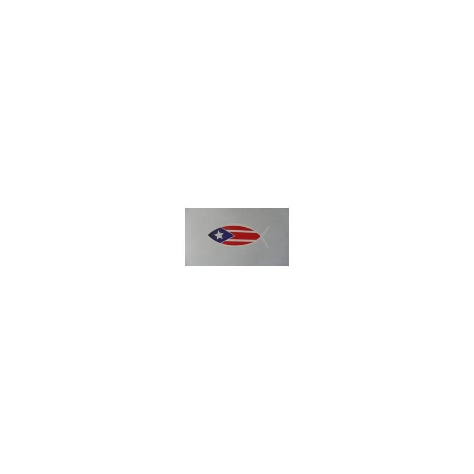 Puerto Rico Flag Jesus Fish Sticker & Decal