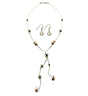 M&S Collection Gold Plated Foil Bead Y Necklace & Earrings Set