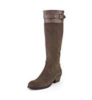 Autograph Suede Water Resistant Cuffed Buckle Boots with Insolia® & Stretch Zip