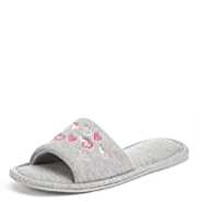 M&S Collection Open Toe Embroidered Heart Mule Slippers
